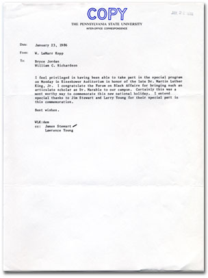 Letter from W. LaMarr Kopp, 1986.