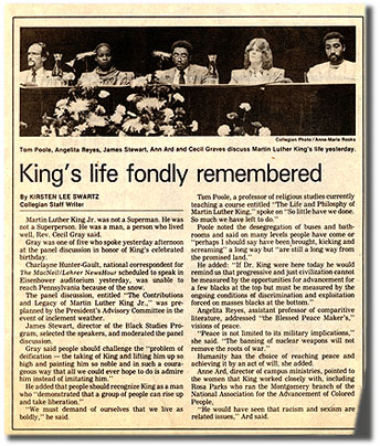 Daily Collegian: King's life fondly remembered, 1987.