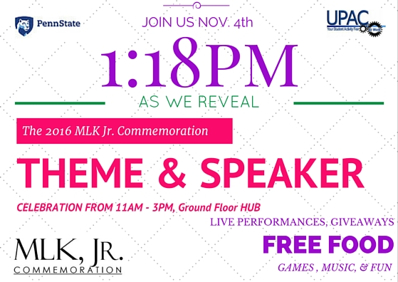 Join us November 4, 2015 at 1:18 p.m. as we reveal the 2016 MLK, Jr. Commemoration Theme and Speaker. Celebration from 11:00 a.m. to 3:00 p.m., ground floor HUB. Live performances, giveaways, free food, games, music, and fun.