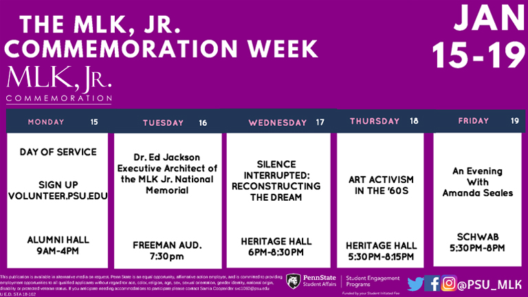 MLK, Jr. Schedule of events banner art